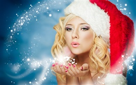Preview wallpaper New Year, winter, snow maiden, beautiful fairy girl