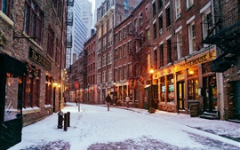 Preview wallpaper New York City, Manhattan, USA, city night, winter, lights