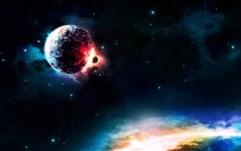 Planets collision, colors, light Wallpapers Pictures Photos Images