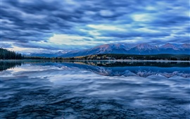 Preview wallpaper Pyramid Lake, Jasper National Park, Alberta, Canada, mountains, sky, blue