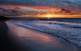 Preview wallpaper Sea waves, water, beach, sunset, sky, clouds, nature landscape