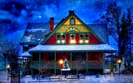 Снежный зимний, дом, Новый год, Рождество, огни, деревья, вечер
