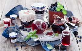 Preview wallpaper Still life, food, jam, blueberries, blackberries, jars, pots, spoons