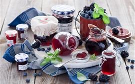Still life, food, jam, blueberries, blackberries, jars, pots, spoons