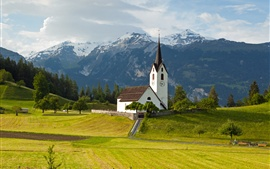 Switzerland, Alps, mountains, grass, trees, church, sky, clouds
