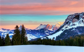 Switzerland, the Alps, winter, red sky, clouds, snow, forest