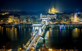 Preview wallpaper Szechenyi Chain Bridge, Budapest, Hungary, the Danube river, city night, lights