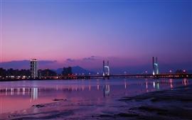 Taiwan, Taipei, cidade da noite, ponte, luzes, rio, céu roxo