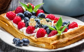 Waffles, fruits, food, cream, dessert, red raspberries, blueberries