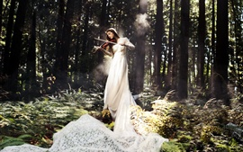 Preview wallpaper White dress music girl, play violin in the forest