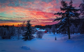 Preview wallpaper Winter evening sunset, sky, clouds, snow, forest, house
