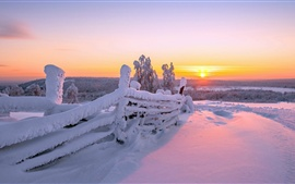 Winter landscape, wood fence, white snow, sunrise