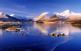 Winter, mountain, lake, snow, ice, blue sky