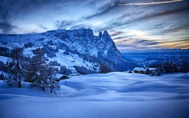 Winter, thick snow, mountains, trees, houses, blue, dawn
