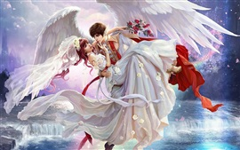 Preview wallpaper Art painting, bride, boy, wings, waterfall, rose