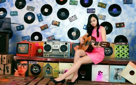 Asian girl, guitar, music, disc, room