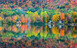 Preview wallpaper Autumn beautiful landscape, forest, house, lake, reflection