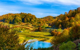 Preview wallpaper Autumn scenery, hills, forest, lake, house