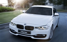Preview wallpaper BMW 328i white car at road