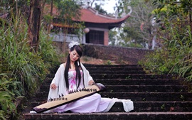 Preview wallpaper Beautiful asian music girl, white skirt