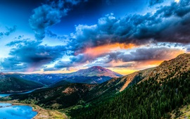 Beautiful nature landscape, mountains, forest, lake, clouds, sunset