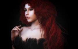 Preview wallpaper Beautiful rendering girl, red hair, curls, dress, feathers