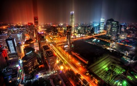 Beijing, China, city, night, skyscrapers