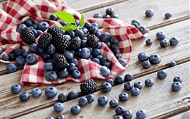 Preview wallpaper Berries, blueberries, blackberries, wood board