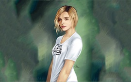 Preview wallpaper Chloe Grace Moretz beautiful painting
