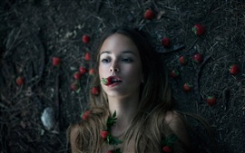 Preview wallpaper Creative pictures, girl, strawberries