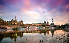 Preview wallpaper Dresden, Germany, morning, city, buildings, harbor, boats, Elbe river