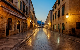 Preview wallpaper Dubrovnik, Croatia, sunrise, footpath, lights, house