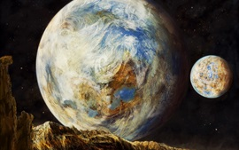 Preview wallpaper Earth and moon, art pictures