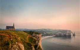 Preview wallpaper Etretat, France, English Channel, coast, sea, house, dusk
