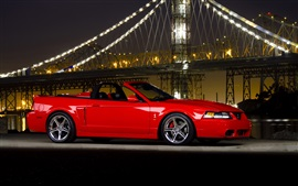 Ford Mustang Cobra supercar, night, bridge