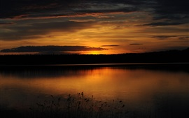 Aperçu fond d'écran Forêt, lac, coucher de soleil, crépuscule, réflexion de l'eau