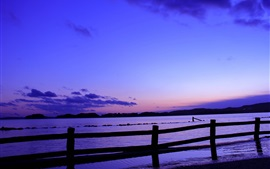 Japan, sea, fence, evening, sunset, blue, lilac sky