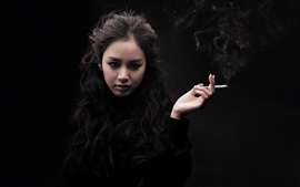 Preview wallpaper Kim Tae Hee, asia girl, smoking, black