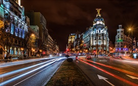 Preview wallpaper Madrid, Spain, city, night, buildings, road, lights