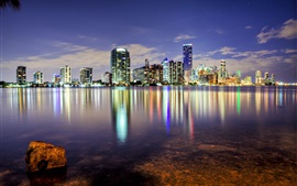 Miami, Florida, USA, ocean, skyscrapers, buildings, city, night