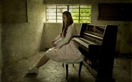 Preview wallpaper Music girl, piano, room