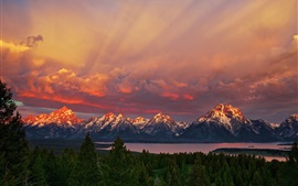 Preview wallpaper National Park Grand Teton, Wyoming, sunrise, mountains, red sky, lake