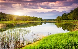 Nature landscape, lake, water, grass, trees, mountains, sky, sunset, clouds