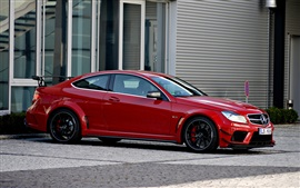 Preview wallpaper Red Mercedes-Benz C63 AMG coupe