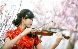 Red cheongsam girl play violin