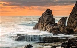 Aperçu fond d'écran Roches, mer, côte, coucher de soleil