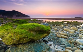 Preview wallpaper Sea, beach, rocks, stones, moss, morning, dawn, sunrise