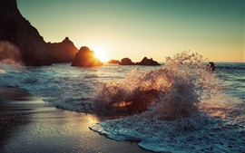Preview wallpaper Sea waves, spray, beach, rocks, sun
