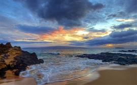 Preview wallpaper Sunset, Secret Beach, Makena, Maui, Hawaii, waves, clouds