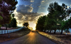 Preview wallpaper Sunset, road, trees, fence, sky, clouds